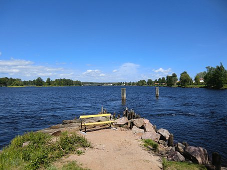 Karlstad, Sweden, Lake, Water, Forest