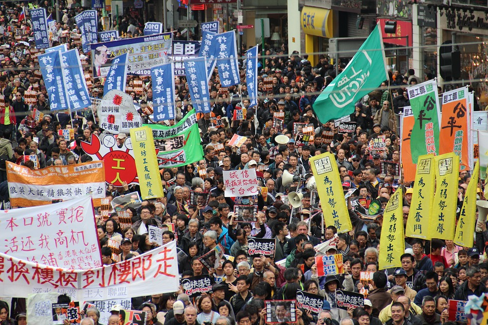 A march in China.