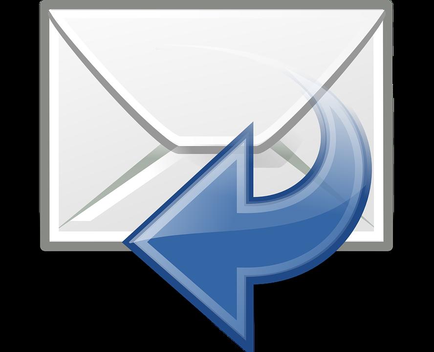 最新の返信, 電子メール, 手紙, 投稿, アイコンを, 矢印, 青