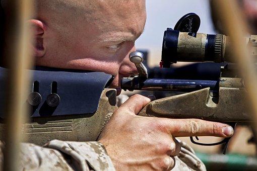 男, 武器, ライフル, 狙撃兵, 濃度, マクロ, クローズ アップ, 軍事