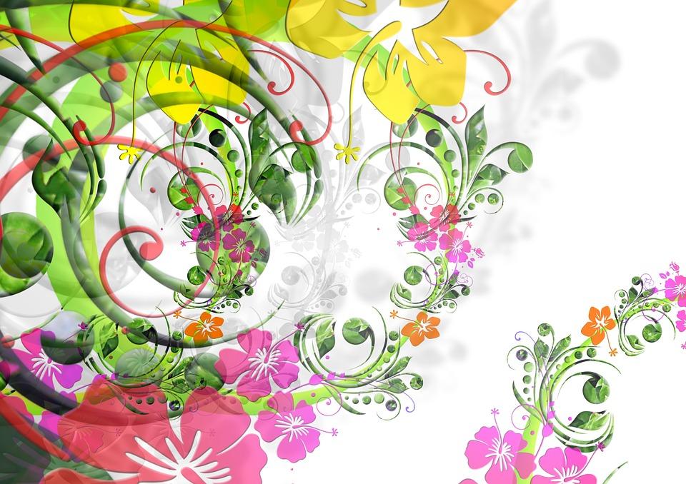 Illustration gratuite fleurs dessin floral flora - Modele dessin fleur ...