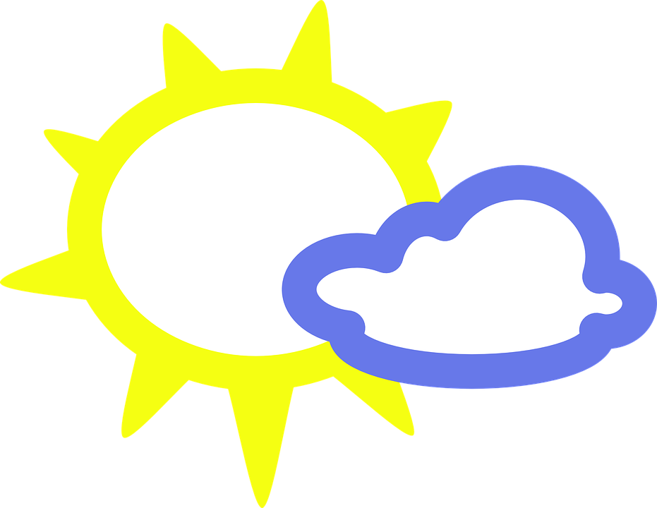 Sunny Cloudy Sun Free Vector Graphic On Pixabay