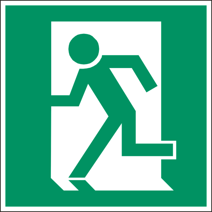 free vector graphic exit emergency exit door way