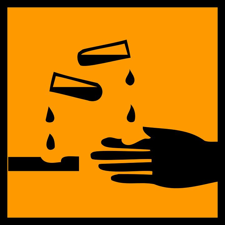 Corrosive, Acid, Danger, Warning, Orange, Sign, Symbol