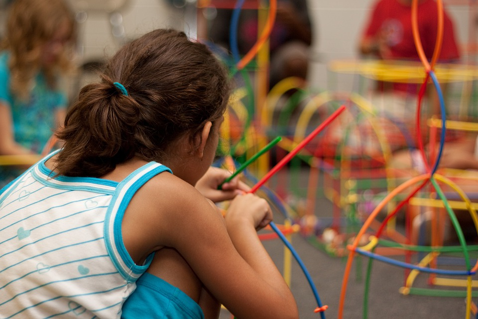 Niños, Jugando, La Escuela, Niña, Aprendizaje