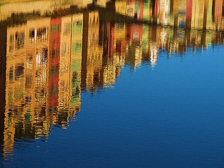 Reflection, Water, Canal, Mirroring