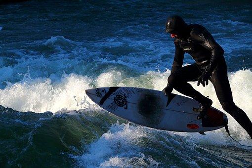 スポーツ, サーフィン, 水, アクション, ジャンプ, サーフボード