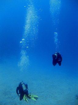 Onderwater, Duikers, Bubbels, Scuba