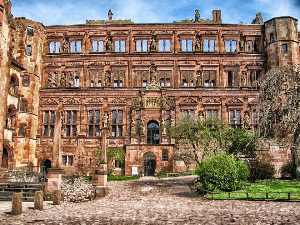 Heidelberg, Niemcy, Zamek, Pałac, Budynku, Struktury