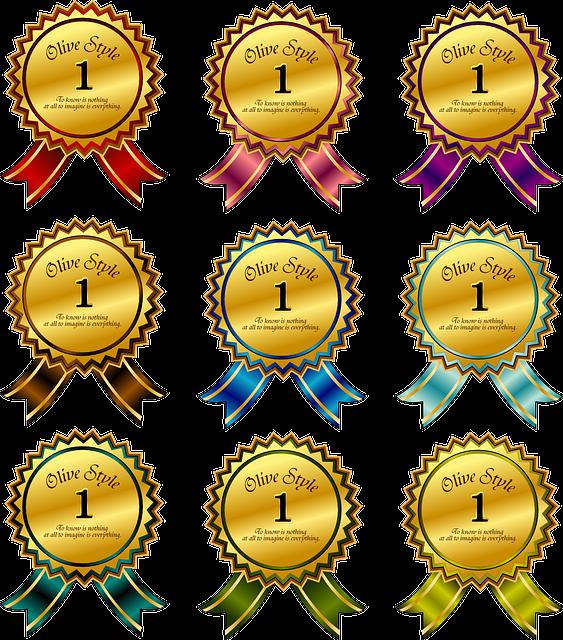 리본 배지 영예 상 수상 수상작 승리 명예 장식 경연 대회 경쟁 골드
