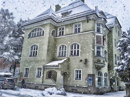 ออสเตรีย, ฤดูหนาว, หิมะ, หิมะตก, อาคาร