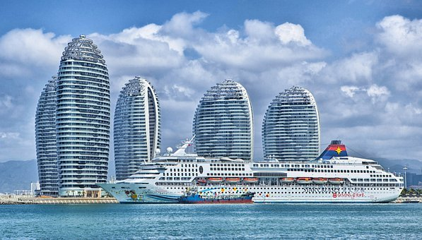 Ship, Hainan, China, Skyline