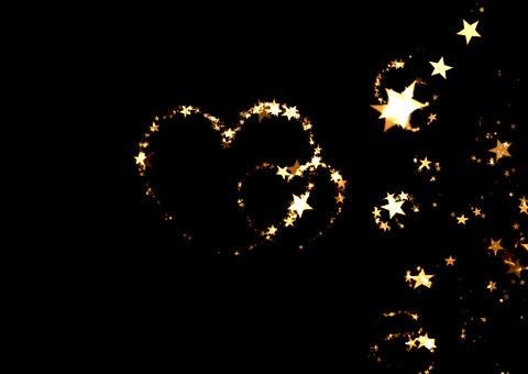 Heart, Love, Luck, Abstract, Star, Night