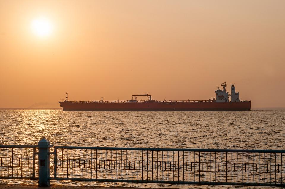 Maracaibo, Wenezuela, Sunrise, Statek, Tankowiec