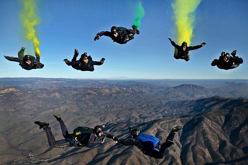 California Parachutists Skydivers Flares C