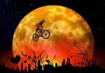 moon, bike, mountain bike
