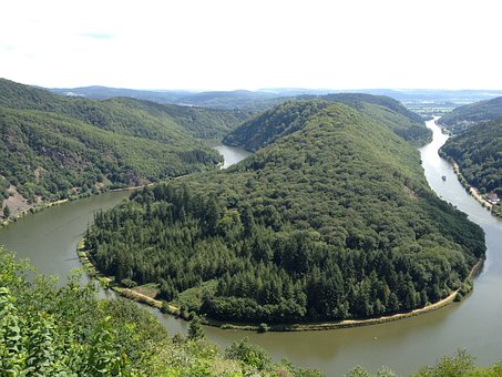 Saarland, Wald, Natur, Bäume, Fluss, Camping Warsberg