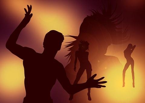 Danza, niño, niña, hombre, mujer, silueta