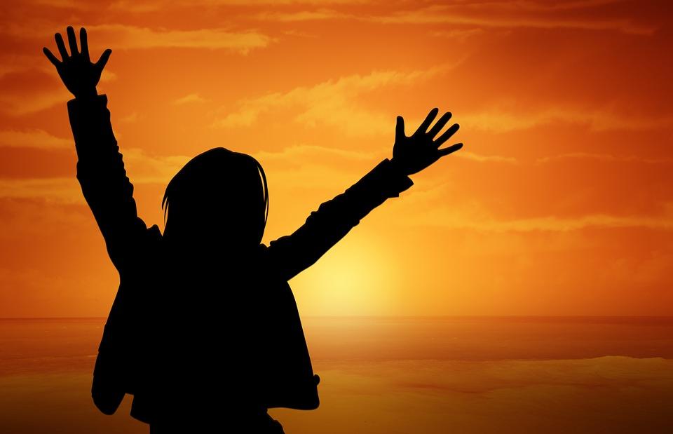 人, 人間, 喜び, サンセット, 太陽, オレンジ, 生命の欲望, 乾杯, シルエット, 若い人たち, 少年