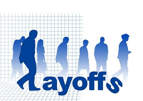 """silhouettes of men and women with the caption """"Layoffs"""""""