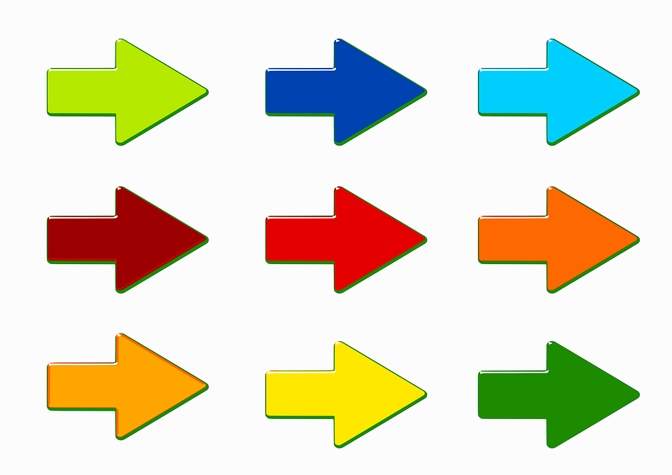 Flechas, Colorido, Aislado, Forma, Color, Dirección