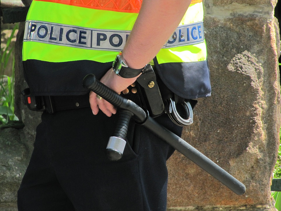 警察官、メンズ、警棒、クランプ