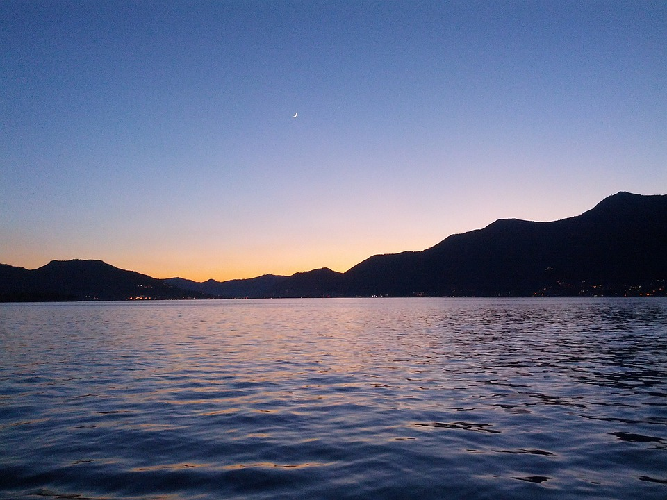 Lake Iseo Landscape Night Water 111340 on Red Frog Beach