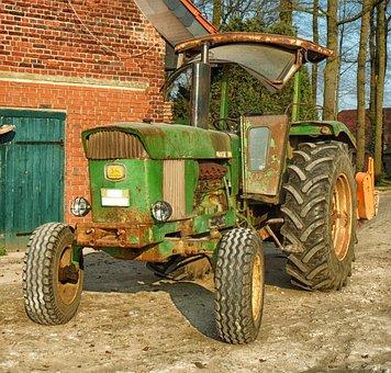 Tractor, John Deere, Farm, Rural, Barn