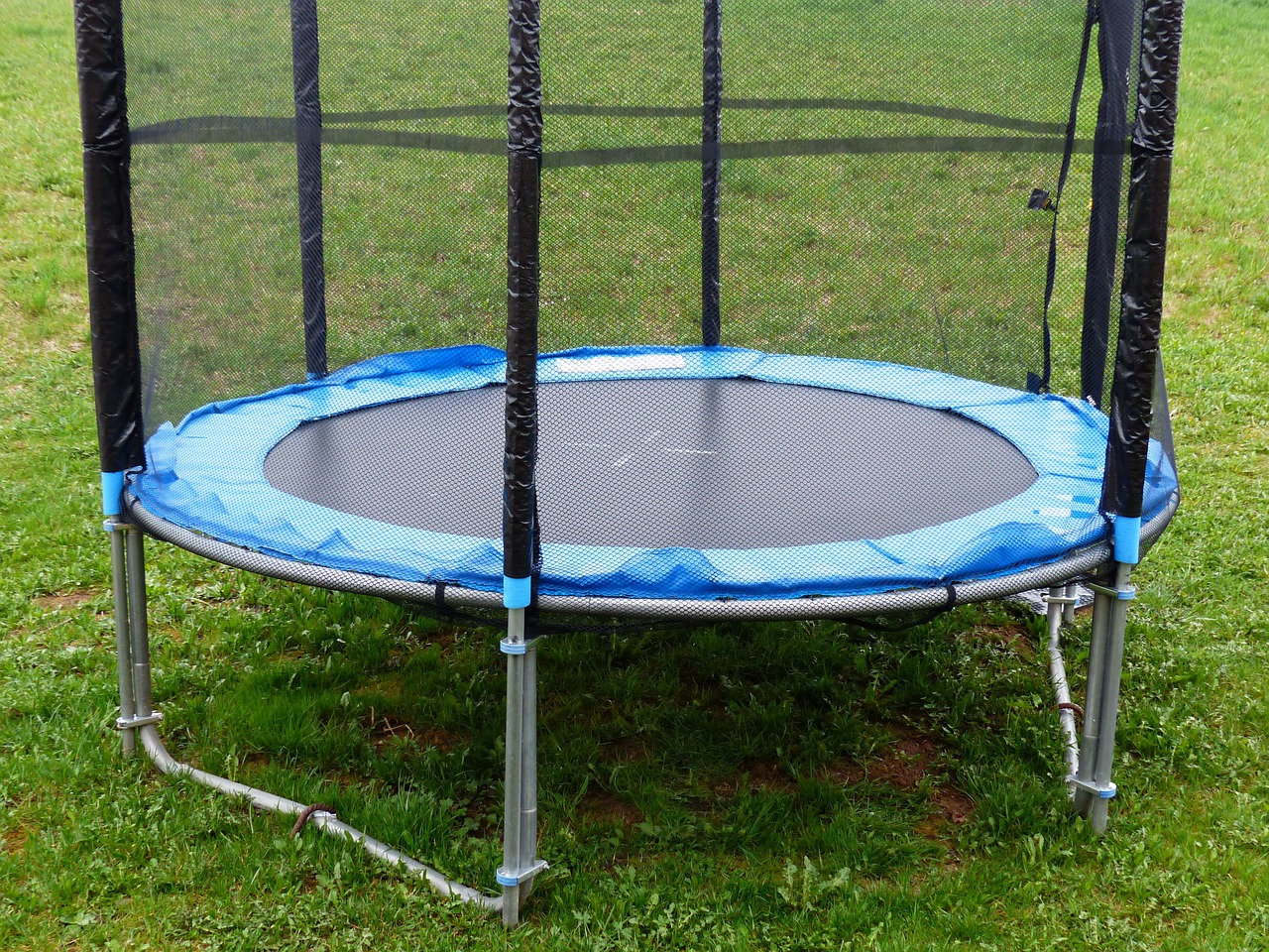 blue round trampoline on a green grass