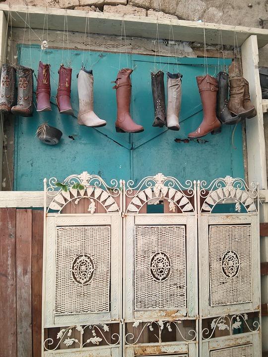 botas los zapatos jardn vintage terraza