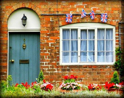 イングランド, 英国の旗, 戸口, 入り口, ドア, 英語コテージ, コテージ