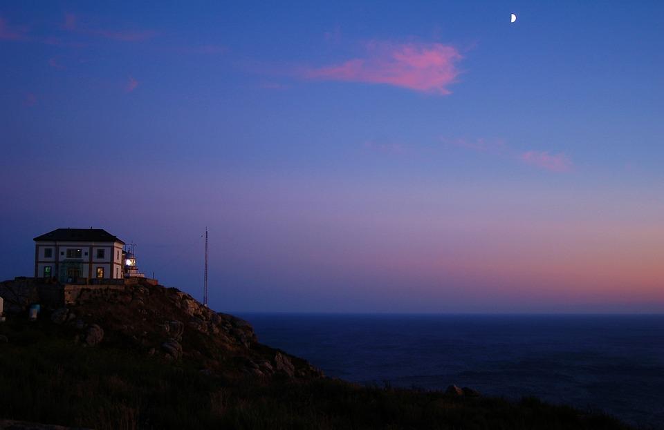 Galicia, Fisterra, Noche, Luna, Faro, Cabo, Finisterre