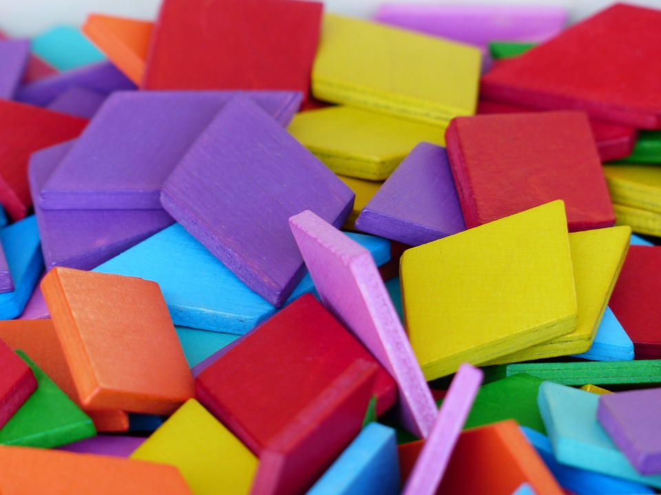 木のおもちゃ, ビルディング ブロック, Legematerial, 虹色, ダイヤモンド, バイオレット
