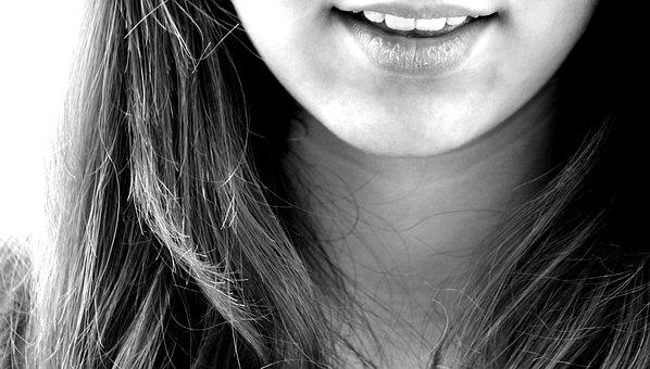 笑顔, 笑い, 女の子, 歯, 口の中, あご