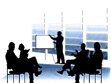 チーム, 人間, シルエット, 図面, プレゼンテーション, オフィス, 会議