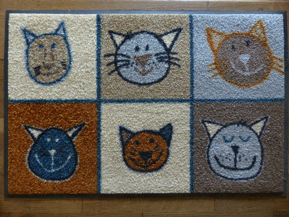 mat, rug with cat image