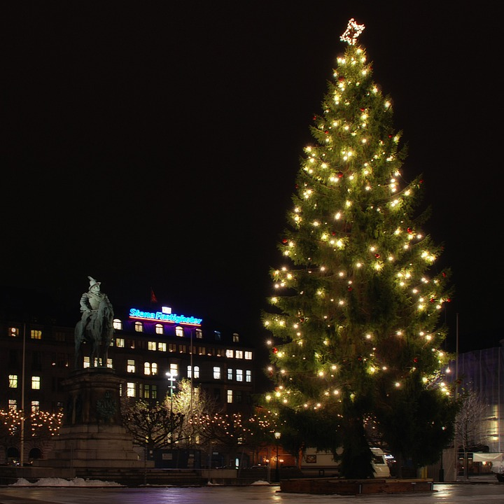 Christmas Tree Sweden: Free Photo: Malmo, Sweden, Night