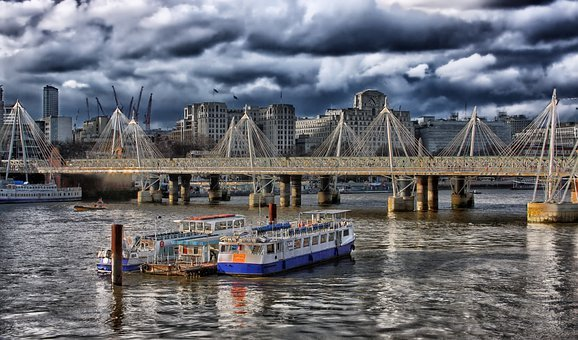 London, England, Hdr, Boats, Ships