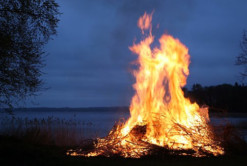 Fire, Flames, Bonfire, Sweden, Night