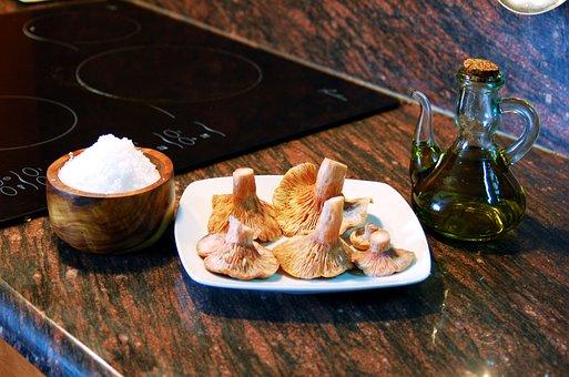 キノコ, 足, クック, キッチン, カタロニア料理, オリーブ オイル