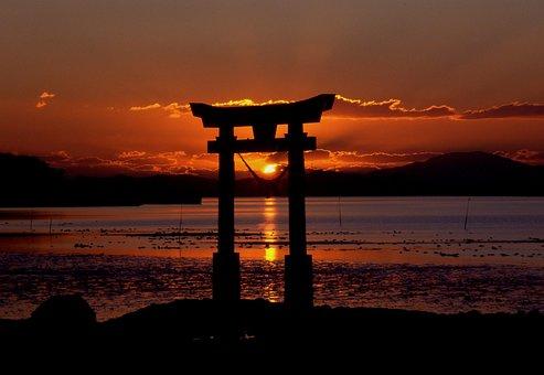 夕焼け, 神社, 海, 空, サンセット, 日没, 永尾神社, 夕日, 水, 光