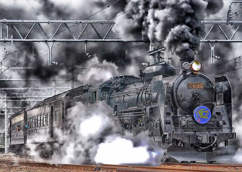Japan, Train, Locomotive, Hdr, Smoke