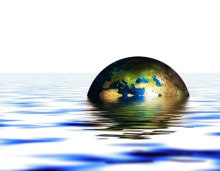 Globe, Earth, Water, Wave, Setting