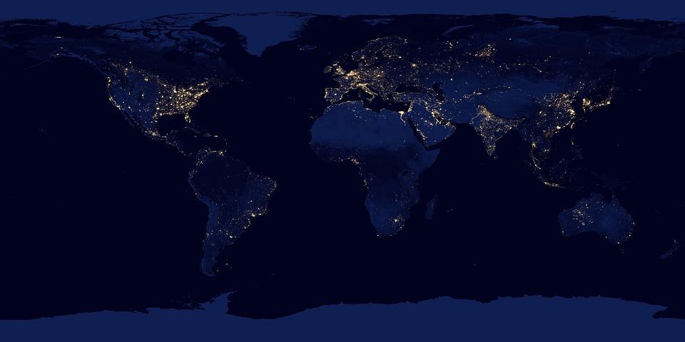 世界, 地図, 衛星画像, 大陸, 衛星地図, 地球, 泊, 暗い