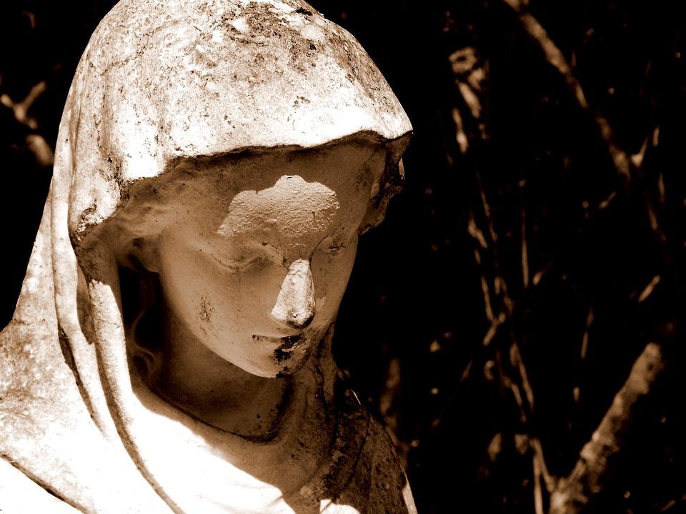 Mary, Statue, Jardin, Sépia, La Religion, Vierge