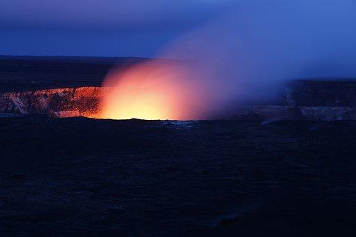 Hawaii Volcano Hot Fire Night Evening Flam