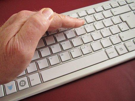 キーボード, コンピューター, 手, カバー, セキュリティ, 保護, 洞察力
