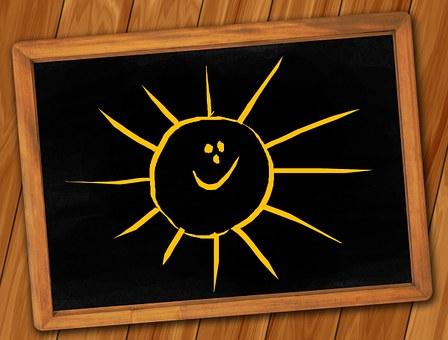 ボード, 黒板, 構造, 鏡板, 太陽, 笑う, 笑顔, 幸せです, 道化師