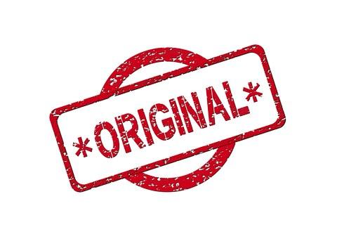 Stamp characters label ORIGINAL representing original content