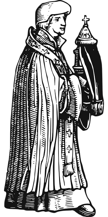 Bishop, Pope, Catholic, People, Man, Line Art, Medieval